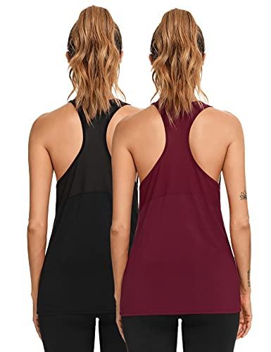 Wayleb Camiseta sin Mangas para Mujer Camiseta de Tirantes de Deporte Chaleco Deportivo Verano Camisola Fitness Yoga Tank Top Pijama,Negro + Rojo Vino (2 Piezas),XXL