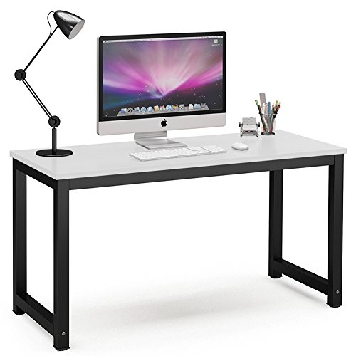 Tribesigns Computer Desk, 55 inch Large Office Desk Computer Table Study Writing Desk for Home Office, White + Black Leg