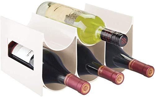 ABO Portabottiglie Acqua e Vino per Piani di Lavoro, Dispense e Frigoriferi Portabottiglie Vino, Crema