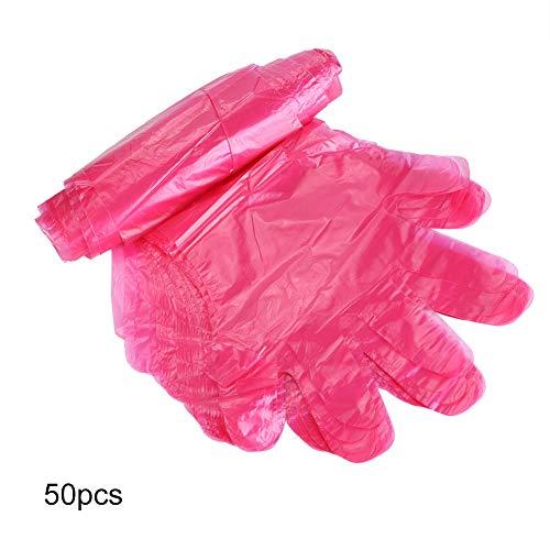 Guanti monouso, 50Pcs/Bag Guanti monouso in plastica a Braccio Lungo per Animali da Fattoria Esame Veterinario(Rosso)