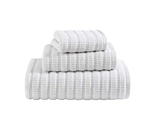 Eddie Bauer Home | Preston Collection | Towel Set-100% Cotton, Quick Dry & Super Absorbant, Machine Washable Easy Care, 3pc, Pastel Grey