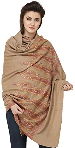 Exotic India - Chal de pashmina de cachemira con S, color marrón