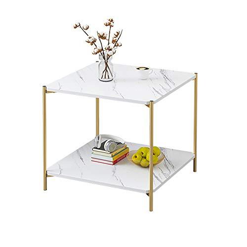 Boutons de manchette Marbre Imprimer Table basse avec pieds en métal d'or for Living Room Chambre Side Accent End Table Texturé boutons de manchettes poignets ( Couleur : White , Size : 40x40x42cm )