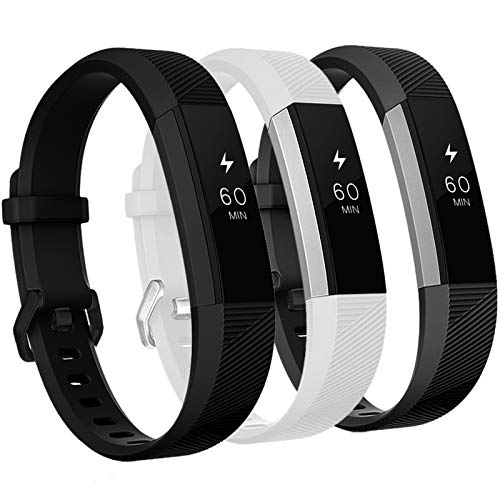 GEAK Bands Compatible with Fitbit Alta and Fitbit Alta HR, 3 Pack Soft Silicone Wristbands for Fitbit Alta HR Bands with…