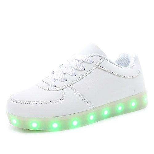 KALEIDO Kids 7 Colors LED Light up Shoes Sneakers for Boys Girls (3 M US Little Kid/EU 34, L.White)