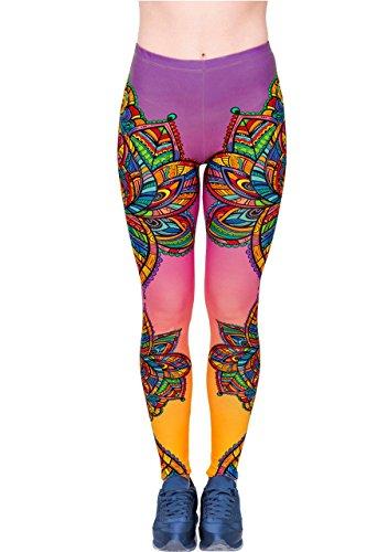 CHIC DIARY Bunte Leggins Damen Sporthose Yogahose Fitness Joggen Leggings Streetwear Strumpfhose Trainingshose mit Stoffdruck