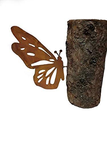vlinder; baumstecker; 32cm; Metaal roest, tuindecoratie
