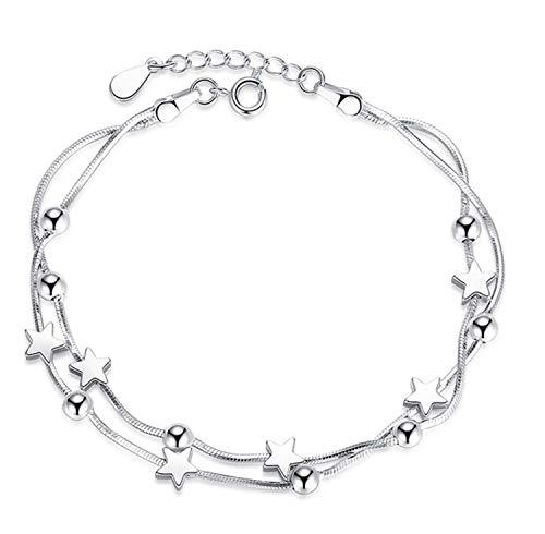 Keybella Happiness - Pulsera de mujer de plata con pequeñas estrellas y estrellas, ideal como regalo de Navidad