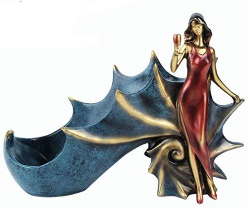 DFGER Estatua de la Escultura Europea Concha Señora de Resina en Forma de decoración Estante del Vino Vino Soportes for Botellas de Mueble de la Sala Comedor Suave decoración del hogar (Color : A2)