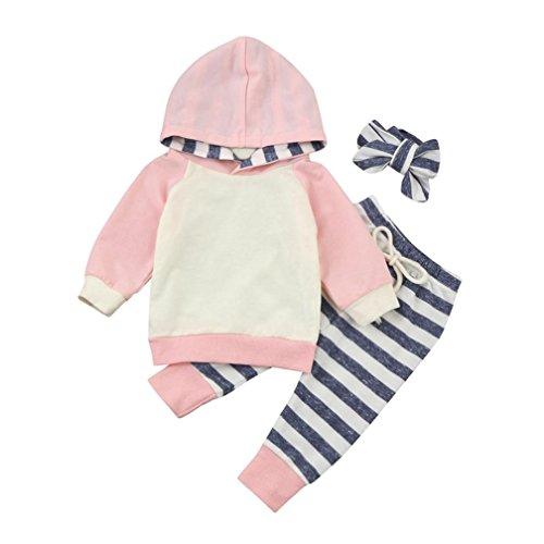 kingko 3pcs Bébé Garçon Fille Vêtements Ensemble Hoodie Tops + Pantalon + Bandeau Rose Tenues (0-3 Mois)