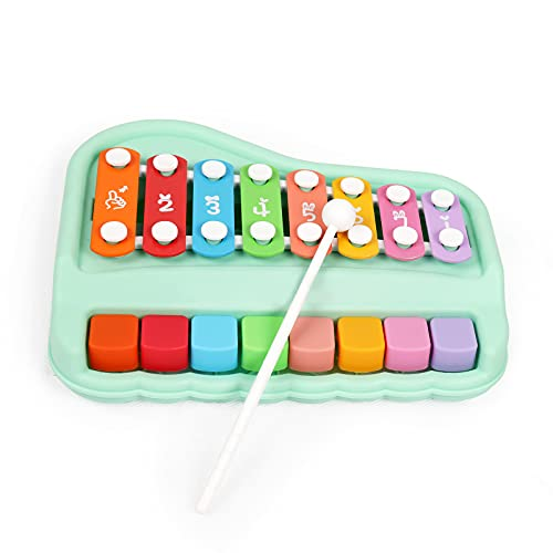 Oprala 2 in 1 Baby Piano Xylophone for Kids Toddlers 1-3 Years Old, 8 Multicolored Keyboard Piano Toy, Preschool Educational Musical Learning Instruments Toy for Kids Baby Girls Boys