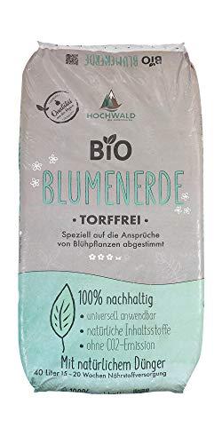 Hochwald Bio Blumenerde torffrei mit Dünger | Universalerde für Zimmerpflanzen, Balkonpflanzen und Kübelpflanzen | Bioerde mit Bodenhilfsstoffen | mit natürlichem Langzeitdünger | 40 Liter