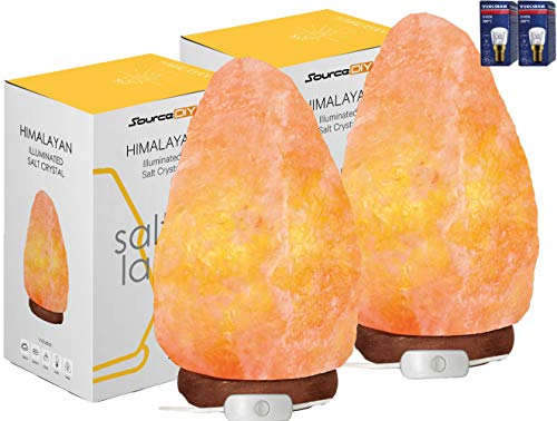 (Pack of 2) 2-3 KG Salt Lamp 100% Authentic Natural Pink Himalayan Crystal Rock with British Standard CE Certified Electric Plug. Premium and Fine Quality