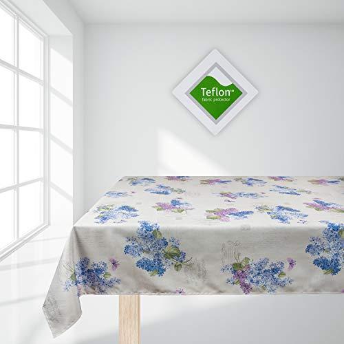 Valia Home Tischdecke Tischtuch Tafeldecke schmutzabweisend wasserabweisend Lotuseffekt pflegeleicht eckig in verschiedenen Größen und Designs (Flieder, 130 x 160 cm)