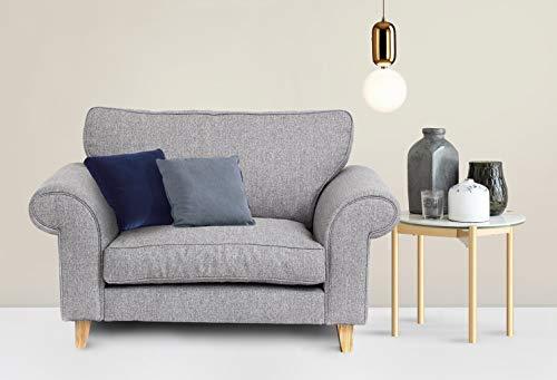 Abakus Direct Angie 3-Sitzer-Sofa, 2-Sitzer-Sofa, Sessel oder Liebessitz, Kuschelstuhl, Hellgrau, hellgrau, Cuddle Chair