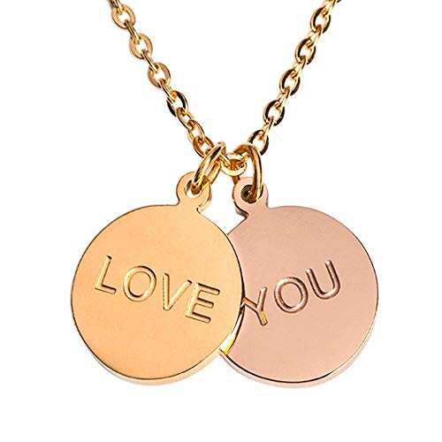 LuckyLy – Collares de Mujer Te Amo, Love You Cora – Collar Oro 18k y Oro Rosa de Acero Inoxidable –…