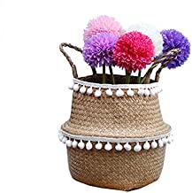 Natural Seagrass Storage Basket - GOODCHANCESG Seagrass Belly Basket With PomPom Foldable Woven Basket With Handle for Lau...