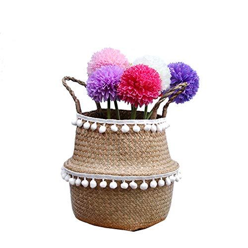 Szetosy - Cesta de junco para almacenamiento de Goodchance UK, con pompones. Cesta plegable tejida y con asa para ropa, juguetes, plantas o para usar en el cuarto del bebé, Estilo#5, 27x24cm