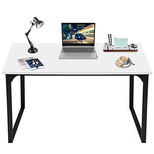 Computer Desk 39' Small Study Writing Table for Home Office, Modern Desk Laptop Desk Sturdy Work Table PC Wood Computer Table with Black Metal Frame (White)