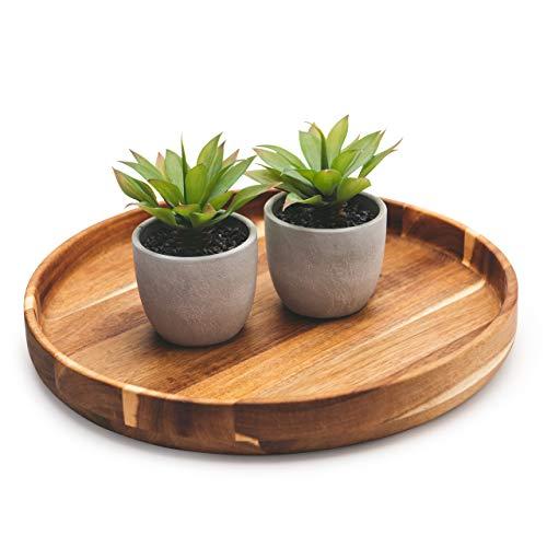 "Kurrajong Farmhouse Round Wooden Serving Tray | Ottoman Tray 15.7"" | Round Coffee Table Tray | Decorator Tray | Serving Tray Round | Round Wooden Tray | Round Wood Tray | Round Tray"