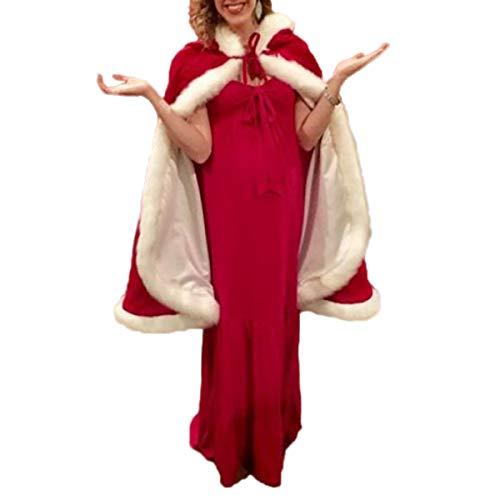 FeMereina Donne Ragazze Natale sig.ra Babbo Natale Mantello Costume di Natale Velluto Mantello con Cappuccio con Bordo in Pelliccia Abito da Sposa con
