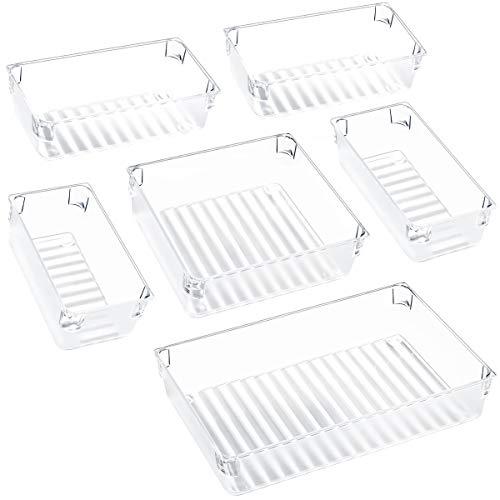 Kootek Desk Drawer Organizer Trays with 3-Size Drawer Dividers 6 Organizers Bins Customize Layout Storage Box for Bedroom Dresser Bathroom Kitchen Office