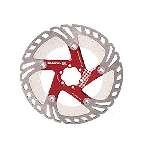 Ryyland-Home Rotor de Freno de Disco Rotores de Bicicletas de montaña de refrigeración del Disco Flotante de 203 mm 160 180 Seis Discos de uñas Freno de Disco de Bicicleta (Color : Red, Size : 203MM)