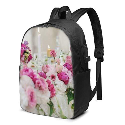 PCYN Hochzeitsbankett Tisch Blumendekoration in einem Restaurant Rucksack 17in große Kapazität Taschen mit USB-Ladeanschluss