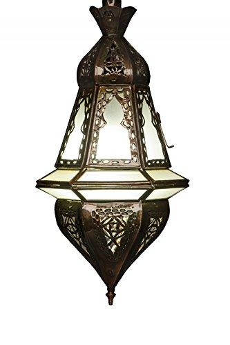 Orientalische Lampe Pendelleuchte Weiß Anya 37cm E27 Lampenfassung | Marokkanische Design Hängeleuchte Leuchte aus Marokko | Orient Lampen für Wohnzimmer Küche oder Hängend über den Esstisch