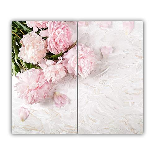 Tulup Glas Herdabdeckplatte Ceranfeldabdeckung Spritzschutz Glasabdeckplatte Kochplattenabdeckung und Schneidebrett - Zweiteilig - 2x30x52 cm - Blumen & Pflanzen - Pfingstrosen - Rosa