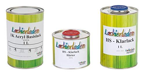 Lackierladen Autolack 2,5 Liter Set HS Klarlack Härter Wunschfarbe spritzfertig RAL 6010 Grasgrün Grass Green