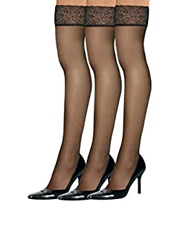 Hanes womens Silk Reflections Lace Top Thigh Highs 0A444 -Barely There-AB-3PK