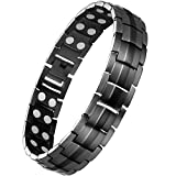 Wincone Magnetic Bracelets For Men Arthritis & Carpal Tunnel Syndrome Pain Relief, Stainless Steel Magnetic Therapy Bracelet with Ultra Strength 44Pcs 3500 Gauss Magnets, Adjustable