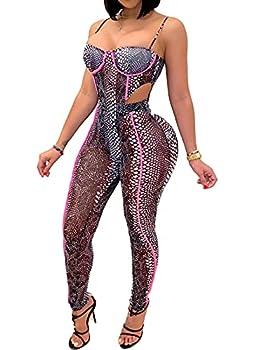 Women Sexy See Through Two Piece Jumpsuits Snakeskin Printed Halter Camisole Bodysuit Sheer Mesh Skinny Pants Club Long Romper Snakeskin S