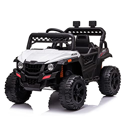 JIMIPARK 12V Electric Ride on Cars, Realistic Off-Road UTV, Ride On Truck, Motorized Vehicles for Kids 2.4GHz Remote Control, with Music, Story, Wearable Wheels, 3 Speed, Spring Suspension, LED Light -  JIMUPARK, JIMU-W42229257