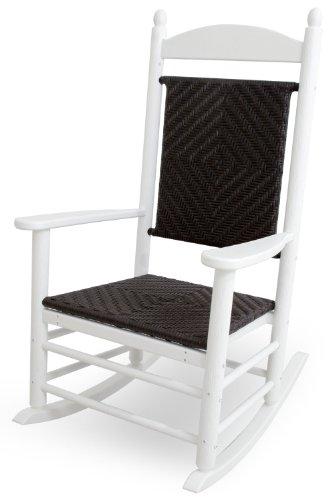 CASA BRUNO Jefferson Mecedora tradicional con asiento y respaldo trenzado, HDPE Poly-madera, blanco - garantizada resistencia a la intemperie