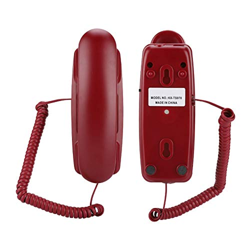 Corded Phone,Phones for Seniors,Desktop Landline Corded Wall Telephone for Home Hotel Living Room School and Office,Powered by Telephone Line(Red)