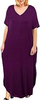 فساتين ماكسي للنساء مقاس إضافي قصيرة الأكمام كاجوال الصيف سبليت تي شيرت فستان طويل مع جيوب