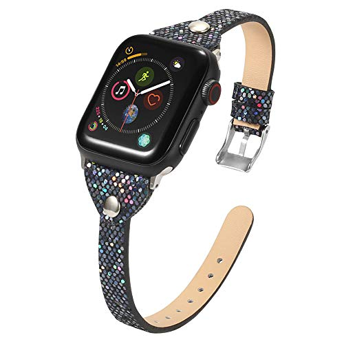 JWNCOAZS Fashion Bling Slim Leather Strap para Apple Watch Band Series 5 4 3 2 1 Pulsera de Remache para iWatch 40 mm 44 mm 38 mm 42 mm Correa para la muñeca 40 mm Oro