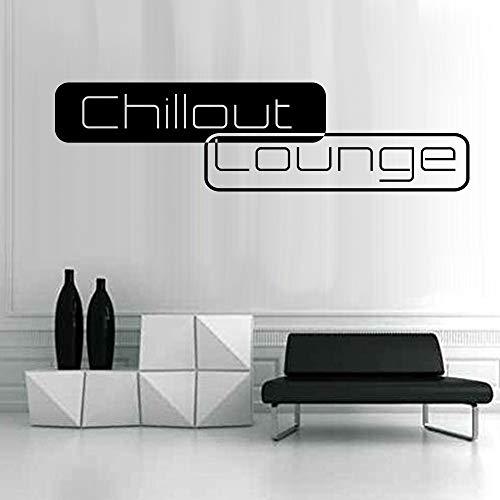 denoda® Chillout Lounge - Wandtattoo Schwarz 95 x 25 cm (Wandsticker Wanddekoration Wohndeko Wohnzimmer Kinderzimmer Schlafzimmer Wand Aufkleber)