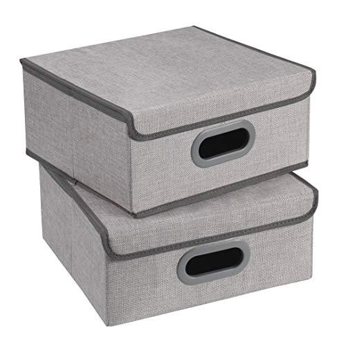 TERRA SELL Hochwertige Aufbewahrungsbox mit Deckel aus Stoff zum Falten/Ordnungsbox/Sortierbox/Faltboxen im 2er-Set 32 x 32 x 15 cm (grau)