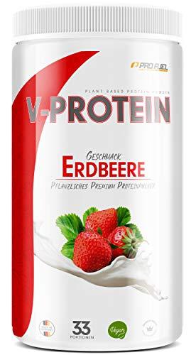 Vegan Protein Pulver - V-PROTEIN, 1 KG   Pflanzliches Eiweißpulver auf Erbsenprotein-Basis   76,8% Eiweiß-Gehalt   Hohe Wertigkeit   Protein-Shake speziell zum Muskelaufbau   ERDBEERE