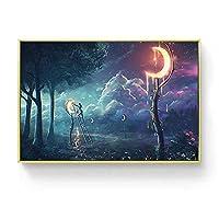 キャンバスプリントウォールアート画像抽象的な風景ウォールアートポスターとプリント深海キャンバス絵画北欧のリビングルームの家の装飾-F_30X45Cm_No_Frame