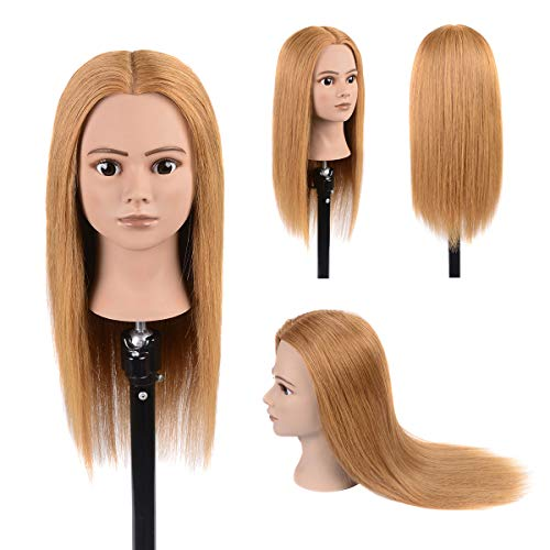 """100% Real Human Hair Mannequin Head Cosmetology Training Mannequin Head Hairstyles Practice Dolls Light Blonde 20""""-22""""(From Forehead to The Back Hair End)"""