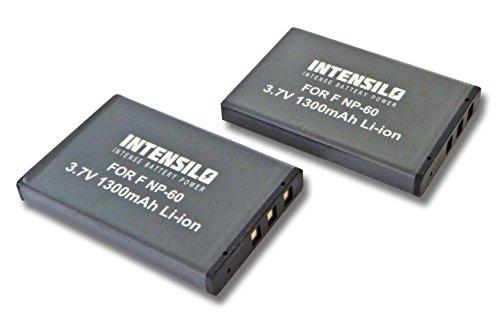 INTENSILO 2X Li-Ion Akku 1300mAh (3.7V) kompatibel mit Jay-Tech Videoshot HDV1080, DDV-H151z, DVH20, DVH22, DVH24 für Kamera Camcorder