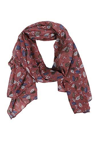 Zwillingsherz Seiden-Tuch im Blätter Design - Hochwertiger Schal für Damen Mädchen - Halstuch - Umschlagstuch – Pashmina - Loop - weicher Schlauchschal für Frühjahr Sommer Herbst Winter - altr