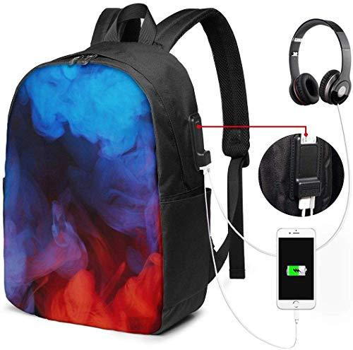 RROOT Unisex Rugzak met USB Opladen Poort Kleurrijke Rook Klassieke Mode Algemene Zakelijke Boekenkast