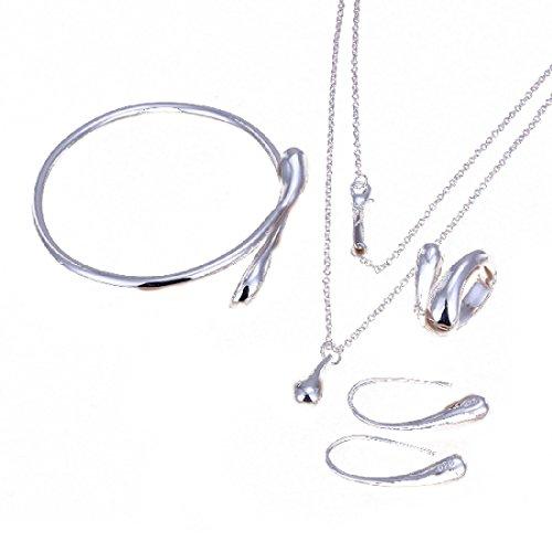 4 Hoja Tr/ébol Collar Earrings Pulseras de tr/ébol de cuatro hojas Colgante ajustable Juego de cadenas Peach Heart Rhinestone Joyas con incrustaciones de cristal para ni/ñas azul mujeres
