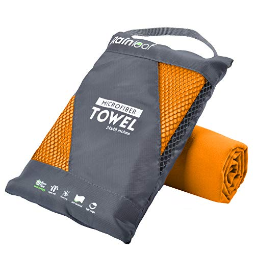 Rainleaf Microfiber Towel,Orange,12 X 24 Inches