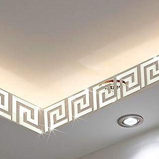 3D stickers muraux 3D acrylique miroir stickers muraux géométrique grec clé modèle acrylique miroir Diy salon mur art deca...